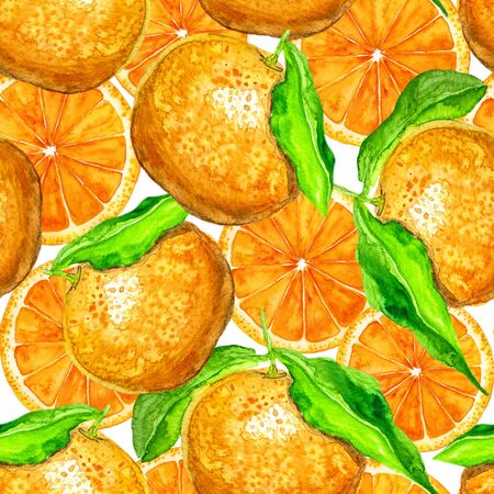 bright paintings: Seamless pattern with orange. Hand-drawn watercolor background