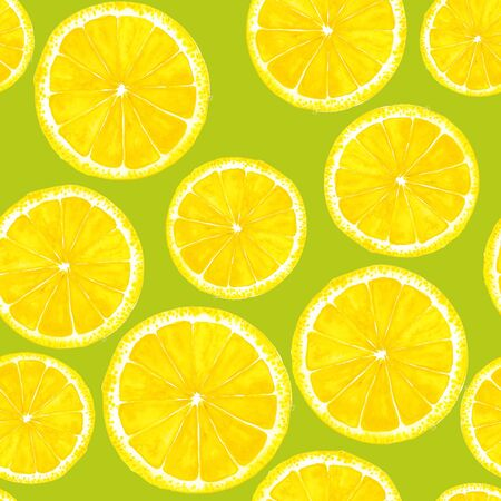bright paintings: Seamless pattern with lemon. Hand-drawn watercolor background
