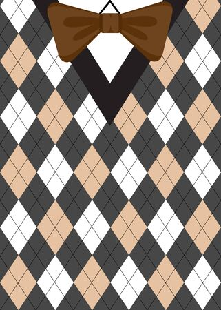 preppy: Argyle sweater background with brown bow-tie. Preppy style