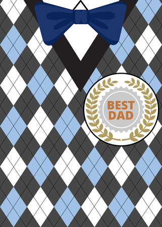 vintage patterns: Greeting card for Fathers Day on argyle background with bow-tie and label Best Dad Illustration