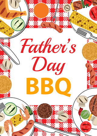 Invitation card for Fathers Day BBQ with food and beverages on table Vectores