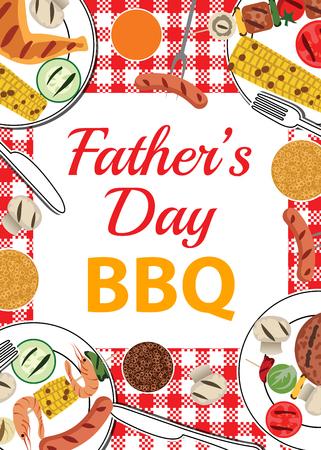 Uitnodigingskaart voor Fathers Day BBQ met voedsel en dranken op tafel Stock Illustratie
