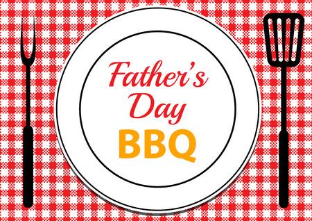 Carte d'invitation pour le BBQ de fête des pères avec nappe et plaque sur la table Banque d'images - 59283123