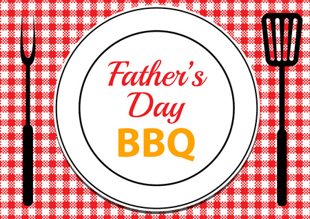 Invitation card for Fathers Day BBQ with tablecloth and plate on table Imagens - 59283123