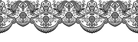 lace pattern: Black lace border isolated on white. Clip art