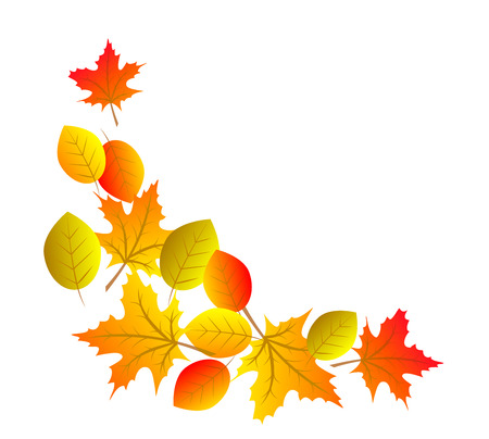 fall leaves: Autumn decorative element for corner with colorful leaves Illustration