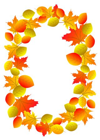 red leaves: Autumn wreath with yellow, orange and red leaves isolated on white