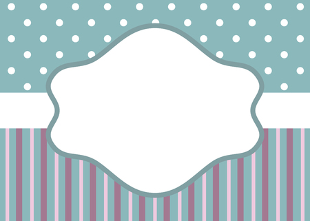 polka: Greeting card template with stripes and polka dot on blue background for wedding, baby shower or birthday party