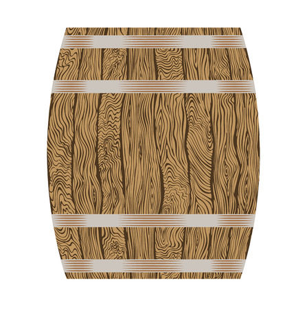 oak wood: Wine or beer wooden barrel isolated on white