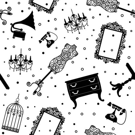 old furniture: Seamless pattern with black vintage furniture on white background