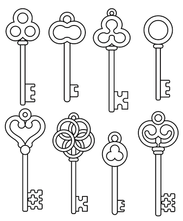 Set of outline vintage skeleton keys isolated on white