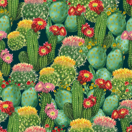 Seamless pattern with blooming cactuses on dark green background
