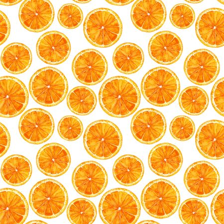 grapefruit juice: Seamless pattern with orange. Hand-drawn watercolor background