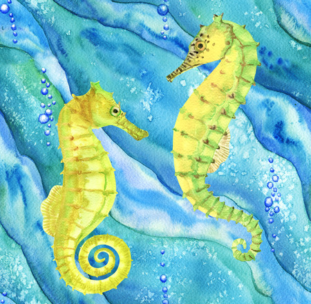 ocean waves: Seamless pattern with seahorses in ocean. Hand drawn watercolor illustration