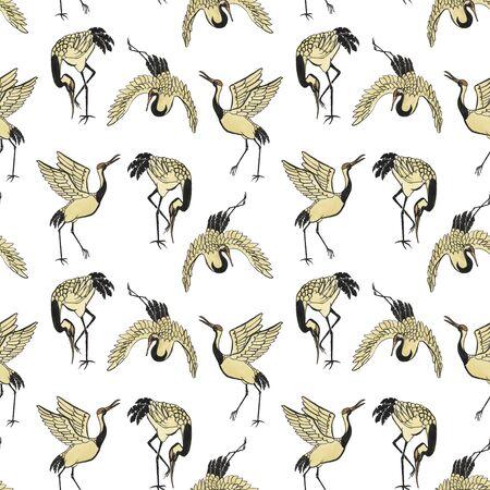 oiseau dessin: Seamless avec des grues main-dessinée avec l'aquarelle dans le style de l'Est Banque d'images