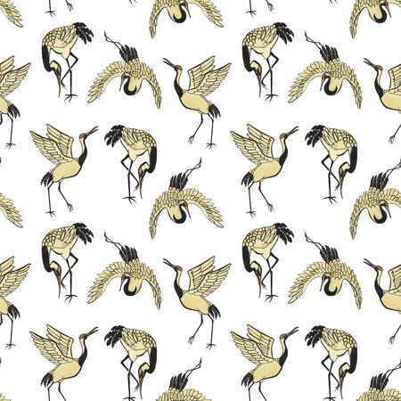 animal pattern: Seamless pattern with cranes hand-drawn with watercolor in eastern style