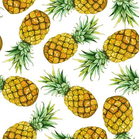 손으로 그린 수채화 파인애플과 원활한 패턴