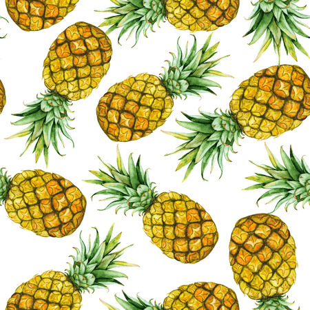 Seamless pattern with hand drawn watercolor pineapples Stock Photo