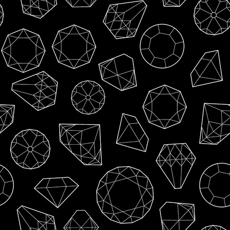 diamonds on black: Seamless pattern with diamonds and crystals on black