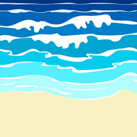 olas de mar: Ilustración de la playa de arena con el océano azul con las ondas