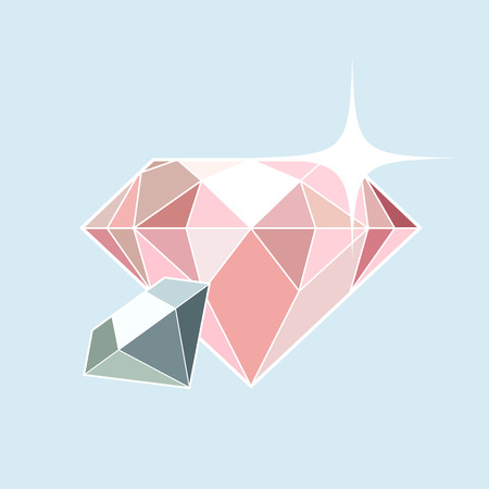 gemstones: Pink and blue diamonds background in flat style Illustration