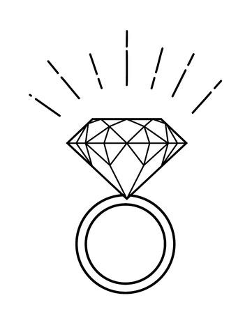 Ilustración de esbozo de anillo con diamante aislado en blanco
