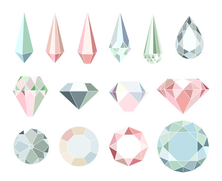 Set of diamonds and crystals isolated on white