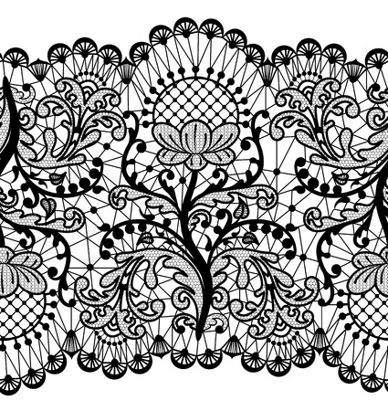 Seamless floral lace border isolated on white