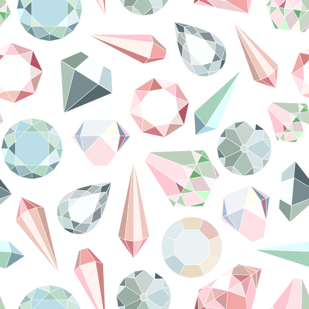 jewelry background: Seamless pattern with diamonds and crystals in pastel colors Illustration