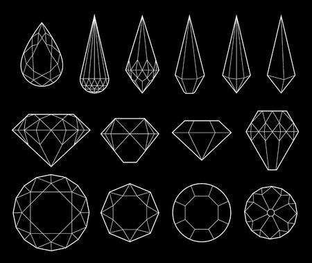 diamonds on black: Set of diamonds and crystals on black background
