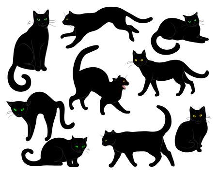 silueta de gato: Conjunto de gatos negros aislados en blanco