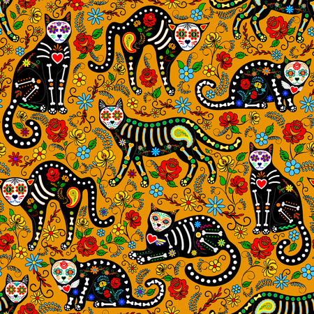 Seamless pattern with calavera sugar skull black cats in mexican style for holiday the Day of the Dead, Dia de Muertos Vettoriali