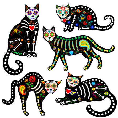 Set of calavera sugar skull black cats in mexican style for holiday the Day of the Dead, Dia de Muertos Stock Illustratie