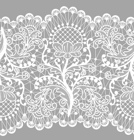 Seamless floral lace border on gray background