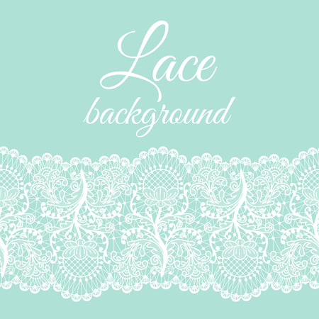 Invitation or greeting card with white lace border on mint background