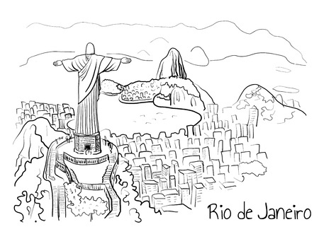 Hand-drawn sketch of Rio de Janeiro attraction - Christ the Redeemer