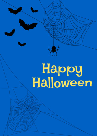 spider webs: Halloween card with spider webs and bats