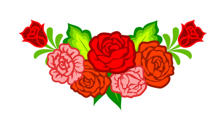 Mexican flowers. Floral decoration with roses isolated on white Illustration