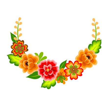 Krans met Mexicaanse bloemen. Florale decoratie op wit wordt geïsoleerd