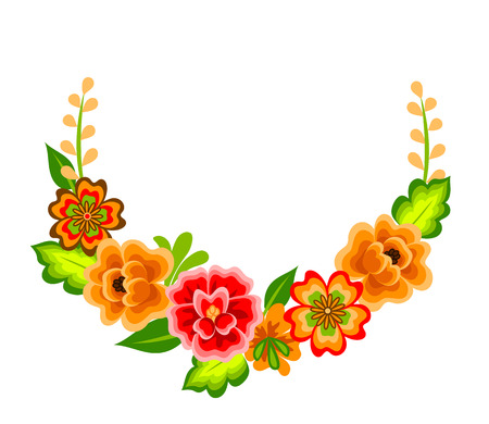 Wreath with mexican flowers. Floral decoration isolated on white Çizim