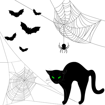 Spider webs, black cat and bats isolated on white Illustration