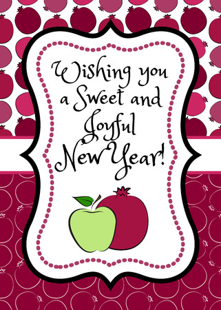 Greeting card for jewish holiday Rosh Hashanah with red pomegranate and green apple Vetores