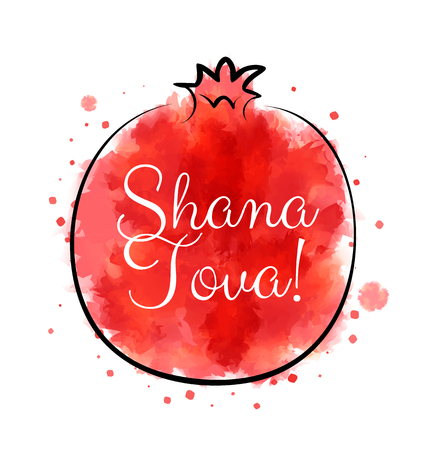 hashanah: Red watercolor pomegranate with greetings for jewish holiday Rosh Hashanah