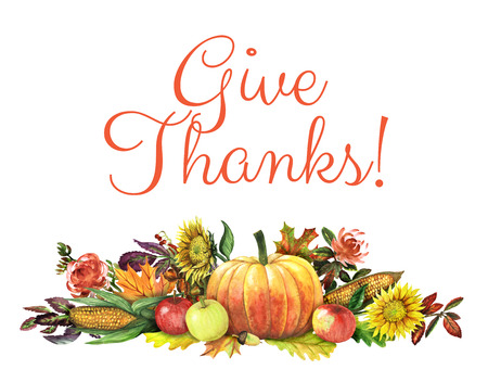 harvest background: Thanksgiving background with harvest hand-drawn with watercolor Stock Photo