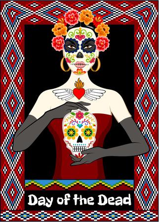 Dia de los Muertos tarjeta con la mujer y calavera cráneo del azúcar