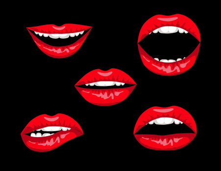 collection red: Collection of red women lips isolated on black background