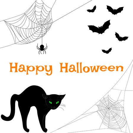 Spider webs, black cat and bats. Halloween card
