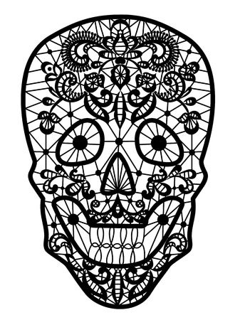 white sugar: Day of the Dead and Mexican Dia Los Muertos decoration. Black lace sugar skull isolated on white Illustration