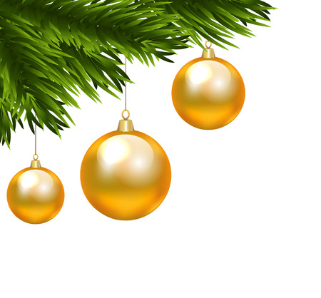 branch: Christmas decorative element for corner with fir tree branch and Christmas yellow baubles isolated on white
