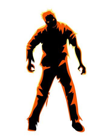 Zombie aislado en blanco. Personaje para la fiesta de Halloween
